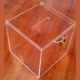 urna plexiglass trasparente raccolta fondi con lucchetto