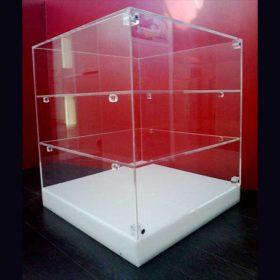 vetrina plexiglass cubo base opal 3 ripiani