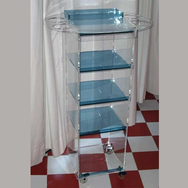 Carrello plexiglass porta attrezzi per parrucchieri for Plexiglass arredamento