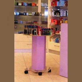 espositore cesto plexiglass su ruote per promozioni profumeria