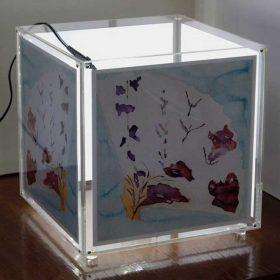 lampada plexiglass portafoto cubo illuminata