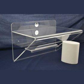 mensola plexiglass piegata con nicchia e mensolina