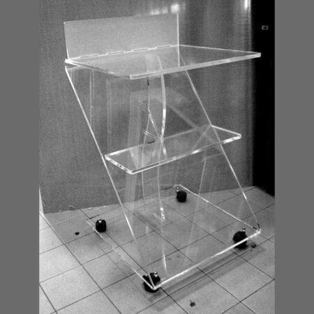 Carrello plexiglass per dispositivi medicali