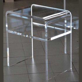 comodino plexiglass termoformato con 1 ripiano spessore 20 mm