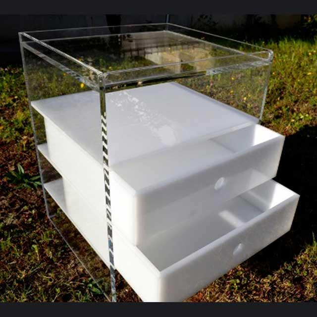 Comodino plexiglass trasparente e opal | Ludovic Plexiglass