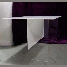 tavolo plexiglass trasparente piano e traversa plexi opal