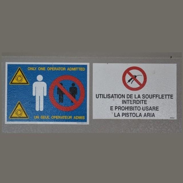 Cartelli di sicurezza impianti e macchinari con stampa adesiva