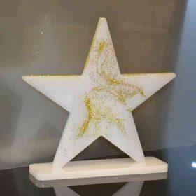 La stella in plexiglass opal decorata