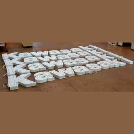 Lettere scatolate luminose a led logo kawasaki