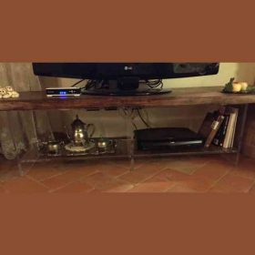 Porta TV in plexiglass trasparente e legno