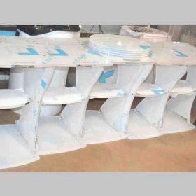 Carrelli plexiglass per apparecchiature medicali con ruote lavorazione