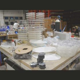 Espositore plexiglass per cosmesi trasparente e opal