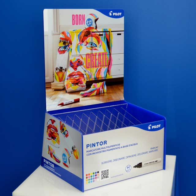 Espositori plexiglass blu con stampa Pintor Pilot