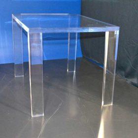 Tavolo massello plexiglass 30 mm piedi piatti e smussati