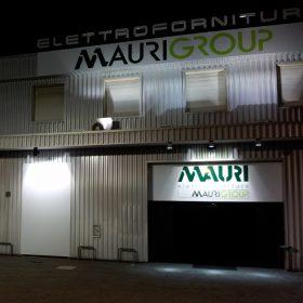 insegna alluminio composito prespaziato Mauri group