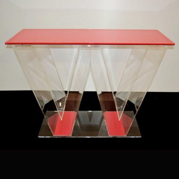 Banco stand plexiglass a forma di W