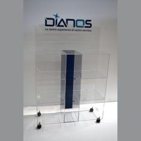Espositore plexiglass personalizzato con ruote