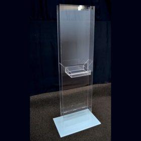 Totem plexiglass trasparente per pubblicità con tasca